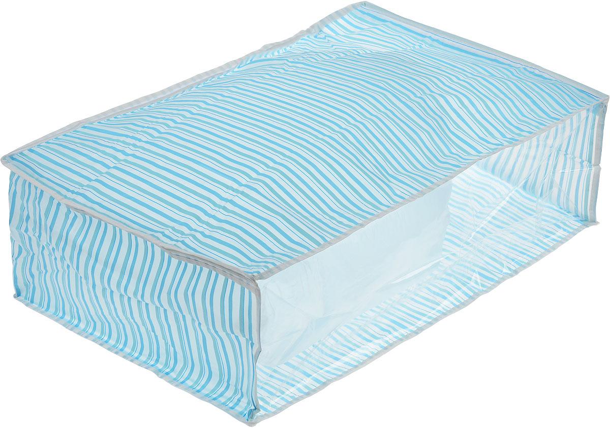 Чехол для хранения Eva, цвет: голубой, 60 х 40 х 20 смЕ-5201_голубая полоскаУдобный чехол на застежке-молнии Eva изготовлен из прочного, водонепроницаемого, легкого в уходе материала PEVA. Он обеспечит надежное хранение вашей одежды и различных вещей, защитит от повреждений, пыли, грязи и UV-излучений во время хранения и транспортировки. Изделие оснащено прозрачной стенкой, благодаря которой вы без труда определите содержимое чехла. Изделие можно стирать при температуре до 40°C. Не содержит хлора. Размер чехла: 60 см х 40 см х 20 см.