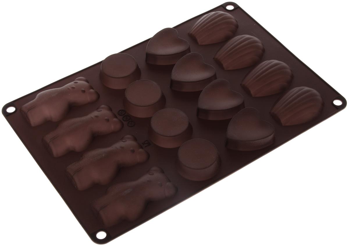 Форма для выпечки Taller, цвет: коричневый, 16 ячеекTR-6213_коричневыйФорма для выпечки Taller изготовлена из высококачественного силикона. Изделия из силикона очень удобны в использовании: пища в них не пригорает и не прилипает к стенкам, форма легко моется. Приготовленное блюдо можно очень просто вытащить, просто перевернув форму, при этом внешний вид блюда не нарушится. Изделие обладает эластичными свойствами: складывается без изломов, восстанавливает свою первоначальную форму. Форма содержит 16 разных ячеек. Порадуйте своих родных и близких любимой выпечкой в необычном исполнении. Подходит для приготовления в микроволновой печи и духовом шкафу при нагревании до +220°С, для замораживания до -20°С. Можно мыть в посудомоечной машине. Размер формы: 30 х 18,5 см.Средний размер ячейки: 7,5 х 4 см.Высота стенок: 1,5 см.Количество ячеек: 16 шт.