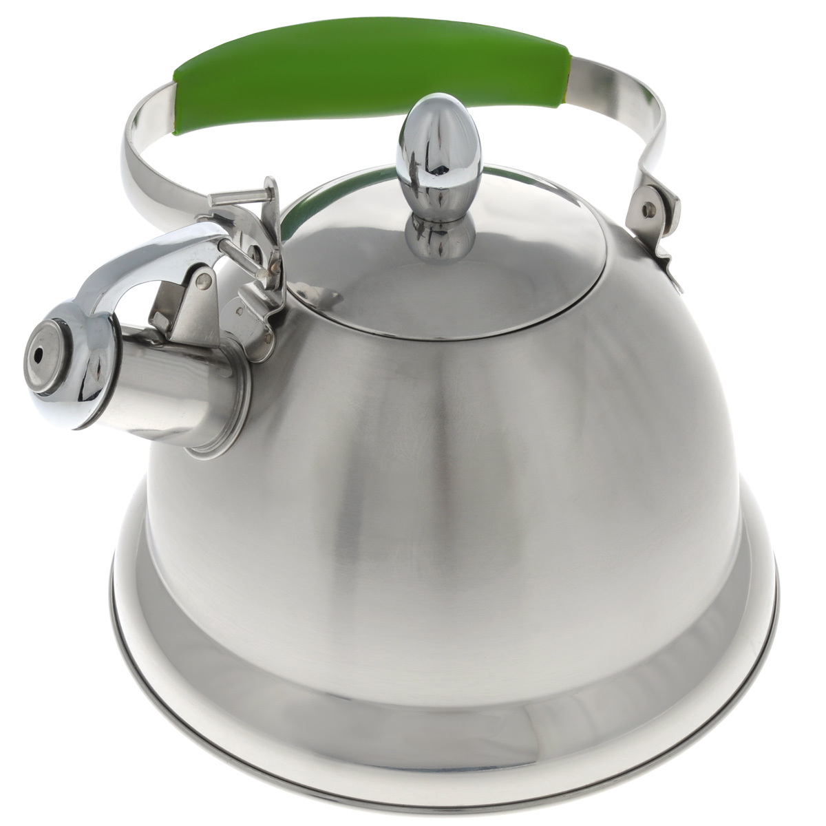 Чайник Mayer & Boch, со свистком, цвет: салатовый, стальной, 3 л. 2320623206_салатовый, стальнойЧайник Mayer & Boch выполнен из высококачественной нержавеющей стали, что обеспечивает долговечность использования. Сочетание матовой и глянцевой поверхности придает посуде эстетичный внешний вид. Ручка оснащена силиконовой вставкой для предотвращения ожогов на руках. Чайник снабжен свистком и устройством для открывания носика. Можно мыть в посудомоечной машине. Пригоден для газовой, электрической, стеклокерамической, галогеновой плиты.Диаметр (по верхнему краю): 10 см. Высота чайника (без учета крышки и ручки): 14 см.Диаметр основания: 22 см.