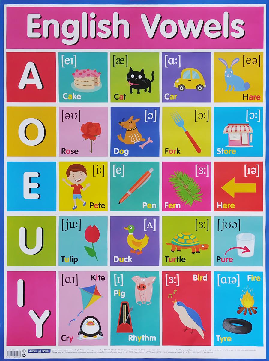 English Vowels / Английские гласные звуки. Наглядное пособие лекомцев а скороговорки повторялки осваиваем произношение звуков первая ступенька