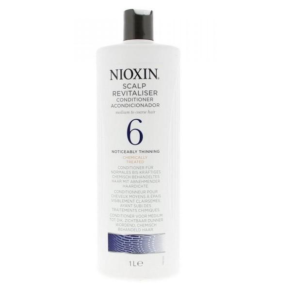 Nioxin Scalp Увлажняющий кондиционер (Система 6) Revitaliser System 6, 1000 мл81274189Увлажняющий кондиционер из Системы 6 от Ниоксин для жестких и редеющих волос мягко воздействует на кожу головы, увлажняя и питая ее. Средство придает волосам упругость и пластичность, а энзимы, которые входят в его состав обладают потрясающим питательным эффектом. Увлажняющий кондиционер от Ниоксин подходит для ежедневного применения.После применения кондиционера от Nioxin волосы становятся мягкими и эластичными, они легко укладываются и расчесываются и значительно меньше выпадают.
