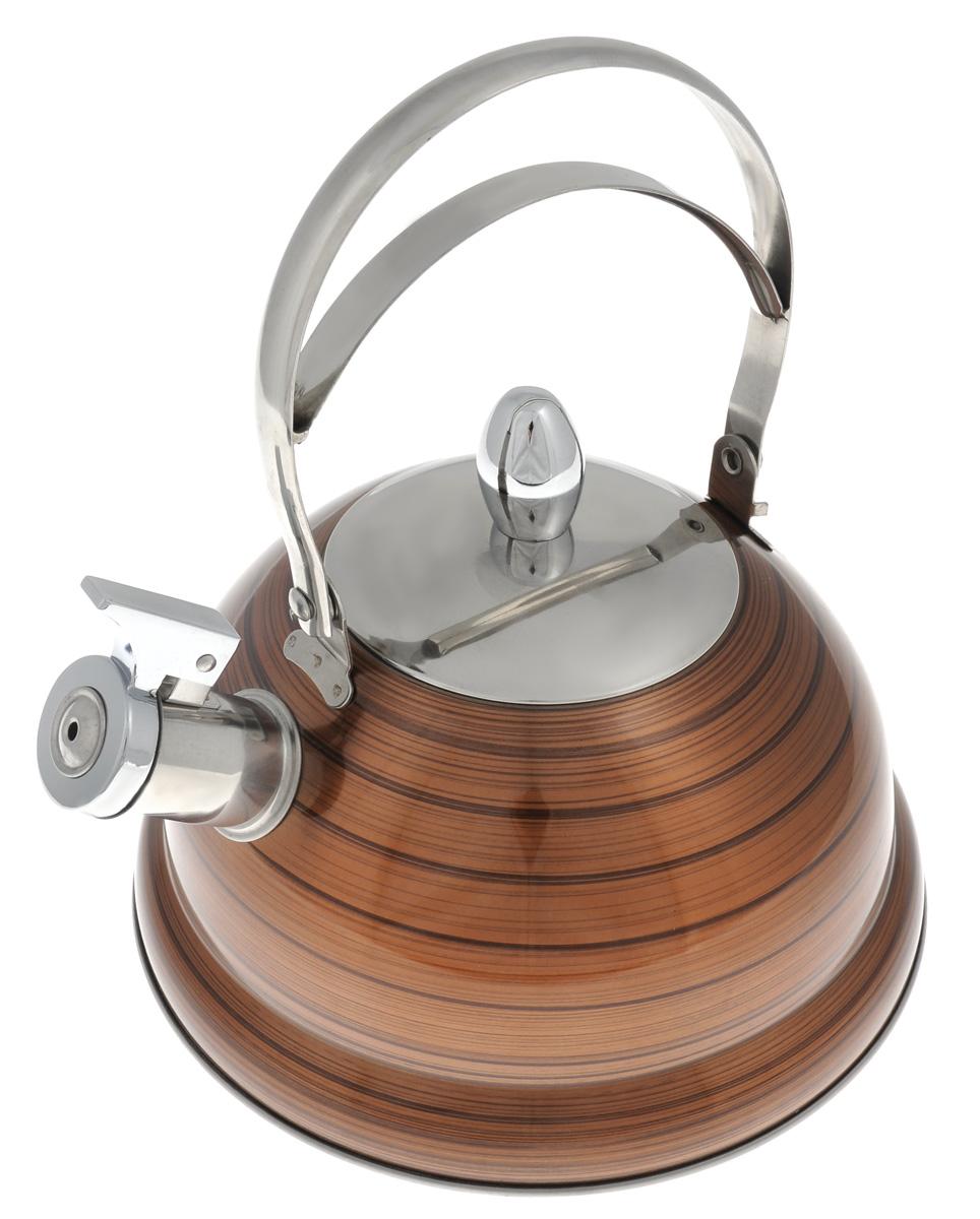 Чайник Bekker De Luxe, со свистком, цвет: коричневый, 2,6 л. BK-S408BK-S408_коричневыйЧайник Bekker De Luxe изготовлен из высококачественной нержавеющей стали 18/10 с цветным эмалевым покрытием. Капсулированное дно распределяет тепло по всей поверхности, что позволяет чайнику быстро закипать. Ручка подвижная. Носик оснащен откидным свистком, который подскажет, когда вода закипела. Свисток открывается и закрывается с помощью специального рычага. Подходит для всех типов плит, включая индукционные. Можно мыть в посудомоечной машине.Диаметр (по верхнему краю): 10 см. Диаметр основания: 22 см. Высота чайника (без учета ручки): 13 см.