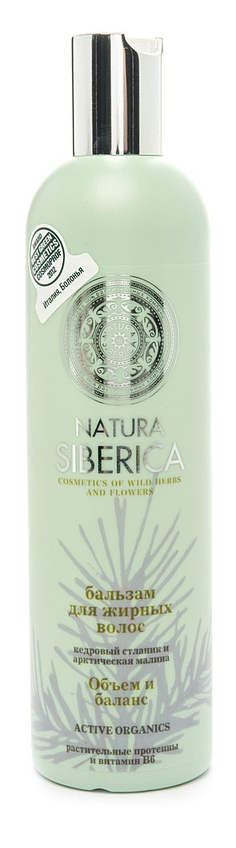 Бальзам Natura Siberica Объем и баланс, для жирных волос, 400 мл086-30358Бальзам Natura Siberica Объем и баланс предназначен для жирных волос. Не содержит лаурет сульфата натрия, парабенов и красителей.Кедровый стланик содержит аминокислоты, которые обладают способностью восстанавливать структуру поврежденного волоса, придавая прическе естественный объем и пышность.Сок арктической малины богаче в 5 раз витамином С, чем сок обычной малины. Он незаменим для ухода за жирными волосами, так как восстанавливает естественный баланс кожи головы.В бальзам добавлены растительные протеины, которые питают волосы, и витамин В6, особенно эффективный при уходе за жирными волосами. Характеристики:Объем: 400 мл. Производитель: Россия. Товар сертифицирован.