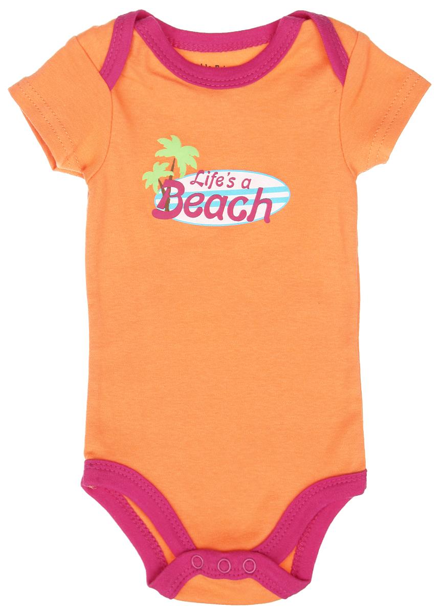 Боди-футболка для девочки Luvable Friends, цвет: оранжевый, фуксия. 60513. Размер 67/72, 6-9 месяцев комплекты детской одежды luvable friends подарочный набор расти со мной 8 предметов 07072