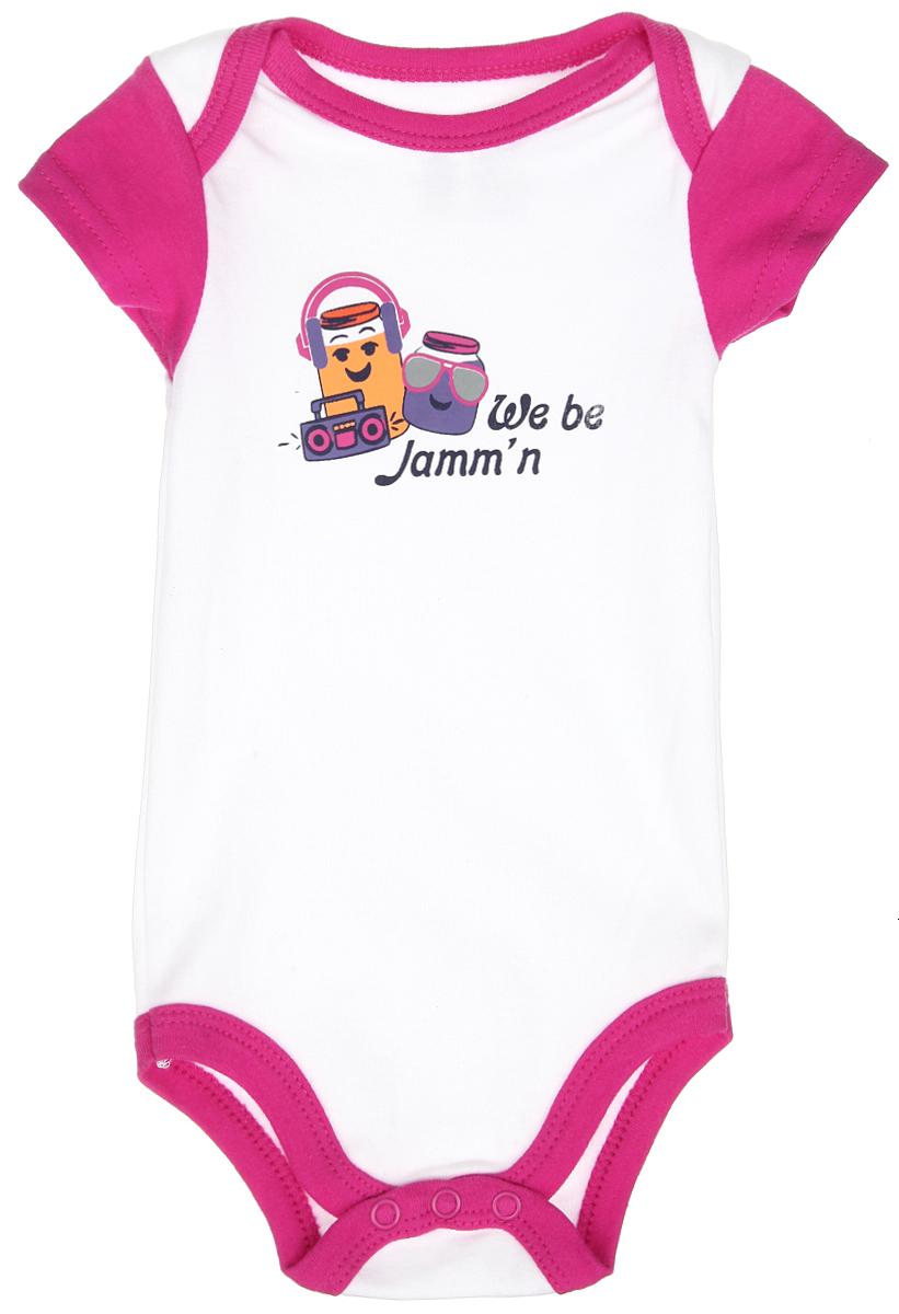 Боди-футболка для девочки Luvable Friends, цвет: белый, фуксия. 60513. Размер 72/78, 9-12 месяцев комплекты детской одежды luvable friends подарочный набор расти со мной 8 предметов 07072