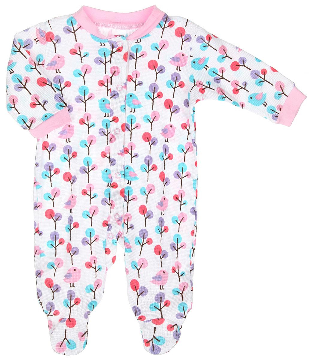 Комбинезон для девочки Hudson Baby, цвет: белый, розовый, голубой. 55095. Размер 55/61, 0-3 месяца55095Комбинезон для девочки Hudson Baby - удобный и практичный вид одежды для ребенка, который идеально подходит для сна и отдыха. Комбинезон выполнен из натурального хлопка, благодаря чему он очень мягкий и приятный на ощупь, не раздражает нежную кожу малышки и хорошо вентилируется. Комбинезон с длинными рукавами и закрытыми ножками имеет застежки-кнопки от горловины до щиколоток, которые помогают легко переодеть младенца или сменить подгузник. Вырез горловины дополнен мягкой трикотажной резинкой. На рукавах предусмотрены манжеты, не пережимающие запястья. Изделие оформлено принтом с изображением птичек и деревьев по всей поверхности. Комфортный и уютный комбинезон станет незаменимым дополнением к гардеробу вашей маленькой принцессы. Изделие полностью соответствует особенностям жизни младенца в ранний период, не стесняя и не ограничивая его в движениях.