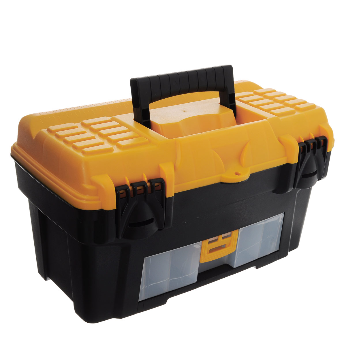 Ящик для инструментов Idea Атлант 18, 43 х 23,5 х 25 смМ 2922Ящик Idea Атлант 18 изготовлен из прочного пластика и предназначен для хранения и переноски инструментов. Вместительный, внутри имеет большое главное отделение. В комплект входит съемный лоток с ручкой для инструментов.Ящик закрывается при помощи крепких защелок, которые не допускают случайного открывания.Для более комфортного переноса в руках, на крышке ящика предусмотрена удобная ручка.