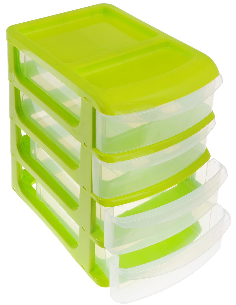 Бокс универсальный Idea, 4 секции, цвет: салатовый, 34 см х 25 см х 36 смМ 2768_салатовыйУниверсальный бокс Idea выполнен из высококачественного пластика и имеет четыре удобные выдвижные секции. Бокс предназначен для хранения предметов шитья, рукоделия, хобби и всех необходимых мелочей. Изделие позволит компактно хранить вещи, поддерживая порядок и уют в вашем доме.Размер секции: 32 см х 24 см х 7,5 см.