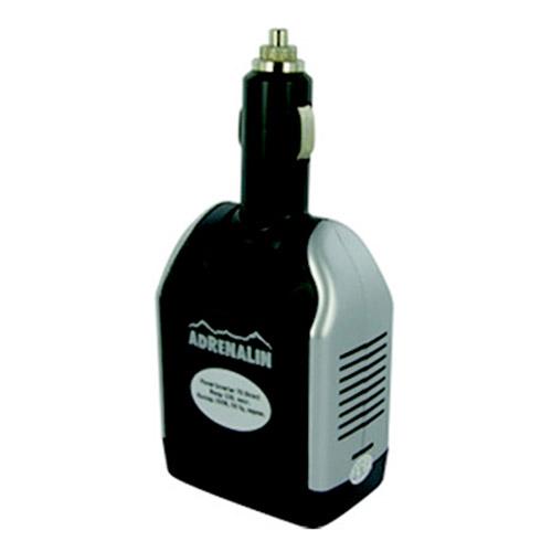 Инвертер автомобильный Adrenalin Power Inverter 75 Direct43899Adrenalin Power Inverter 75 Direct - это розетка 220В в вашем автомобиле! Инвертер предназначен для питания и зарядки различных портативных электронных устройств. Выходной мощности хватит для работы с ноутбуком, видеокамерой, DVD-плеером, вы сможете заряжать аккумулятор мобильного телефона или других элементов питания. Прибор включается непосредственно в разъем автомобильного прикуривателя (только 12В!) и сразу же готов к работе. Прибор оснащен питающим USB-портом.