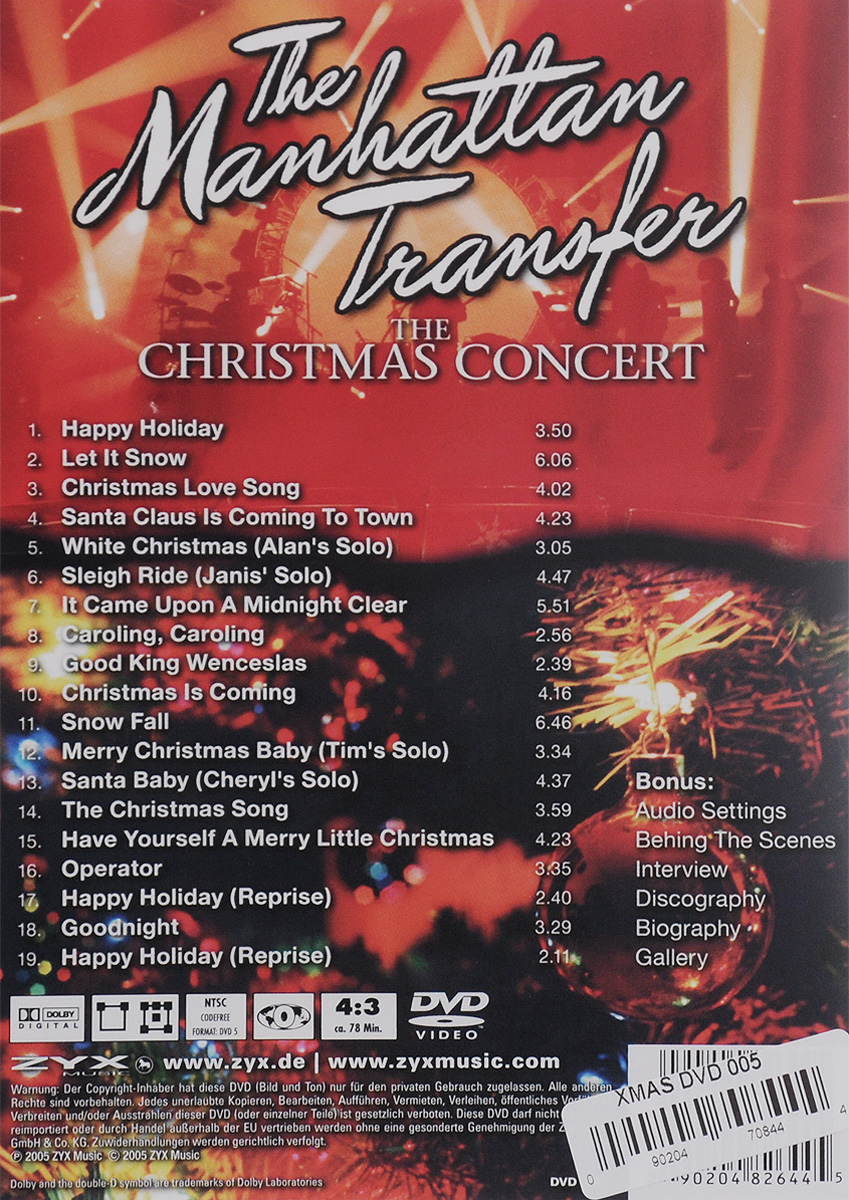 The Manhattan Transfer:  The Christmas Concert ZYX Music