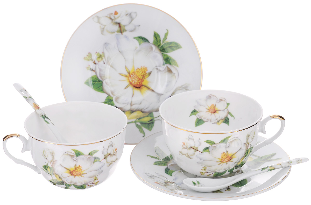Набор чайный Elan Gallery Белый шиповник, 6 предметов180791Набор чайный Elan Gallery Белый шиповник состоит из двух чашек, двух блюдец и двух ложек, выполненных из высококачественной керамики. Изделия оформлены изящным цветочным рисунком.Изящный набор эффектно украсит стол к чаепитию и порадует вас функциональностью и ярким дизайном. Объем чашки: 250 мл. Диаметр чашки (по верхнему краю): 9,5 см. Высота чашки: 6 см. Диаметр блюдца: 15 см. Длина чайной ложки: 12,5 см.