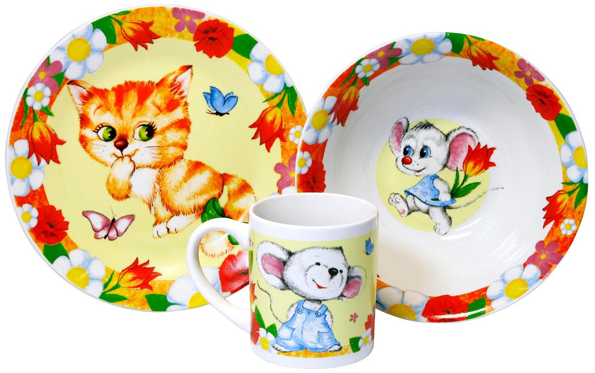 МФК-профит Набор детской посуды Кошки-мышки 3 предмета мфк профит кружка гадкий я миньоны 300мл 97651