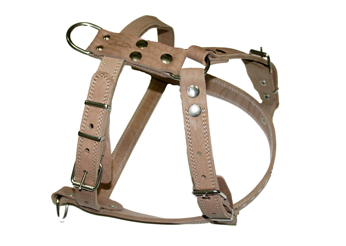 Шлейка Аркон  №1 , ездовая, цвет: натуральный, ширина 25 мм, длина 70-87 см. ш1е - Товары для прогулки и дрессировки (амуниция)
