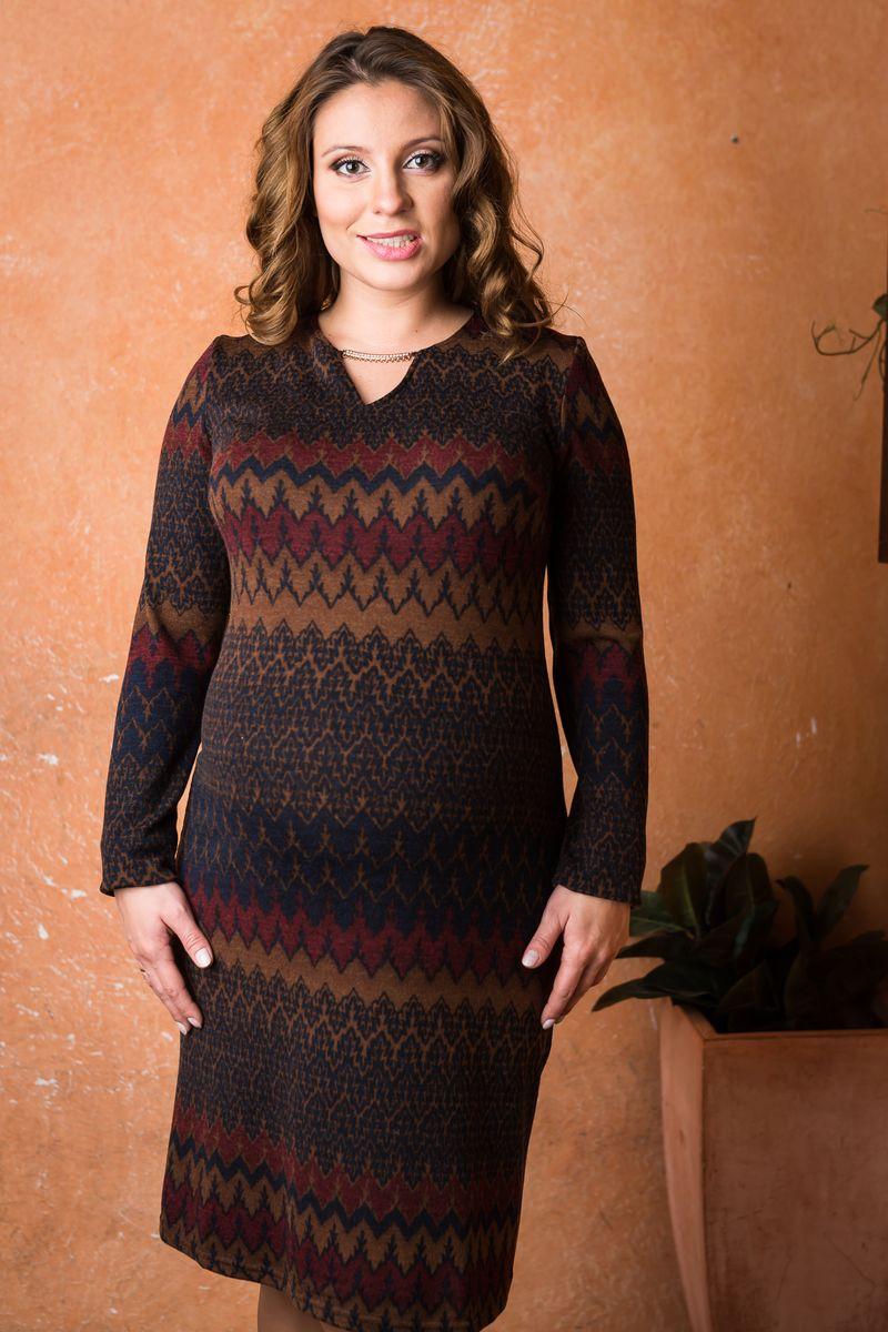 Платье для беременных Nuova Vita Ромбы, цвет: коричневый, темно-синий, бордовый. 2149.01. Размер 442149.01Теплое платье Nuova Vita, изготовленное из высококачественного материала, послужит как в период беременности, так и после рождения ребенка. Ткань на ощупь очень мягкая и приятная, не сковывает движения, хорошо вентилируется. Лайкра в составе изделия обеспечивает хорошую эластичность.Модель с фигурным вырезом горловины и длинными рукавами имеет свободный крой. Оформлено платье орнаментом по всей поверхности, украшено декоративным элементом со стразами. Такое платье станет отличным дополнением к вашему гардеробу, в нем будущая мама будет чувствовать себя удобно и комфортно.