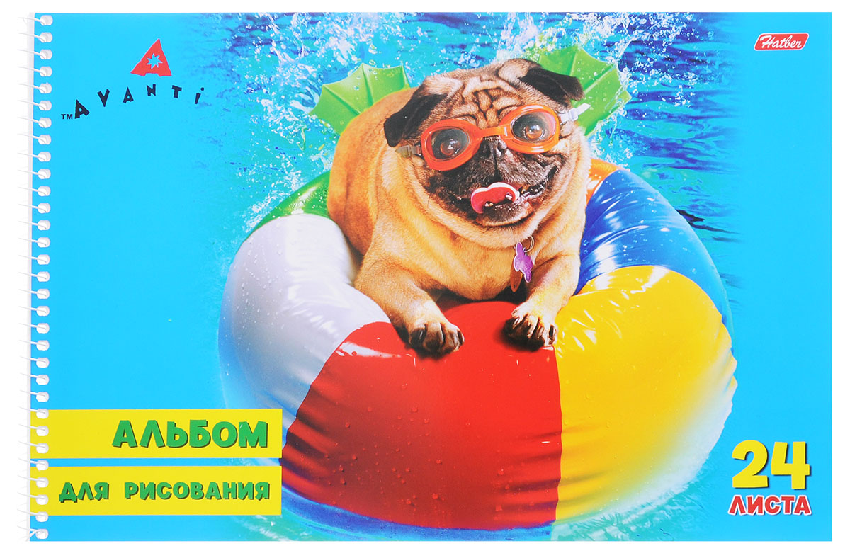 Hatber Альбом для рисования Собака на мяче 24 листа24А4Bсп_собака на мячеАльбом для рисования на боковой спирали Hatber Собака на мяче непременно порадует маленького художника и вдохновит его на творчество. Альбом изготовлен из белоснежной офсетной бумаги с яркой обложкой из мелованного картона, оформленной изображением забавной собачки на надувном мяче. В альбоме 24 листа. Высокое качество бумаги позволяет рисовать в альбоме карандашами, фломастерами, акварельными и гуашевыми красками.