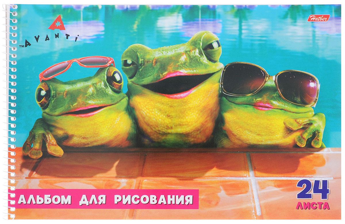 Hatber Альбом для рисования Лягушки 24 листа24А4Bсп_лягушкиАльбом для рисования на боковой спирали Hatber Лягушки непременно порадует маленького художника и вдохновит его на творчество. Альбом изготовлен из белоснежной офсетной бумаги с яркой обложкой из мелованного картона, оформленной изображением модных лягушек в бассейне. В альбоме 24 листа. Высокое качество бумаги позволяет рисовать в альбоме карандашами, фломастерами, акварельными и гуашевыми красками.
