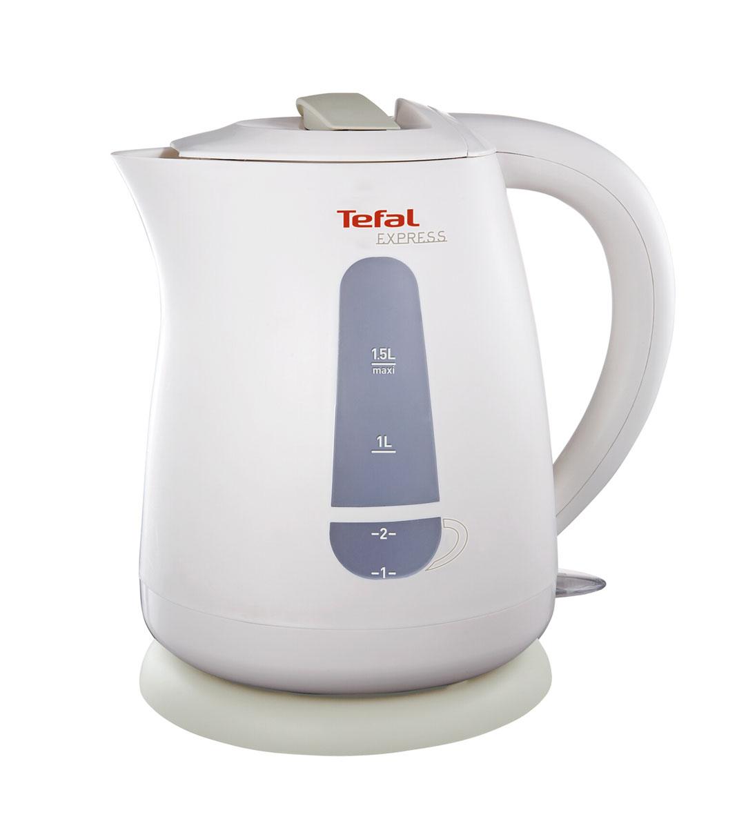 Tefal KO29913E Express Plastic электрический чайникKO2991Корпус электрического чайника Tefal KO29913E Express Plastic выполнен из термостойкого пластика. Горлышко достаточно большого диаметра, а также широко открывающаяся крышка поможет вам легко наливать воду и мыть чайник. Удобная кнопка Вкл / Выкл., расположенная внизу у основания ручки, служит для быстрого включения устройства, а выключается чайник автоматически при закипании воды.Отличительными чертами Tefal KO29913E Express Plastic являются возможность блокировки крышки для дополнительной безопасности при использовании устройства, а также два индикатора уровня воды - для одной или двух чашек. Подставка позволяет чайнику свободно вращаться на 360°.