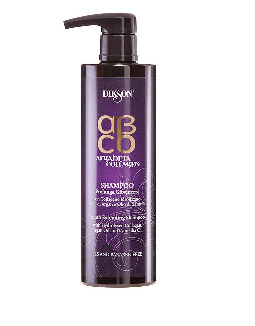 Dikson ArgaBeta Collagen - Шампунь Продление молодости 500 мл (безсульфатный)2447Аккуратно удаляет загрязнения с волос и кожи, глубоко питает их, усиливает структуру. Коллаген в составе увеличивает срок жизни волоса, увеличивает объем, плотность, нивелирует стресс. Масло арганы - классический антиоксидант, который питает кожу головы. Масла камелии возвращает волосам блеск, дарит сияние и мягкостью. Без лаурилсульфата натрия, отсутствуют парабены в составе.