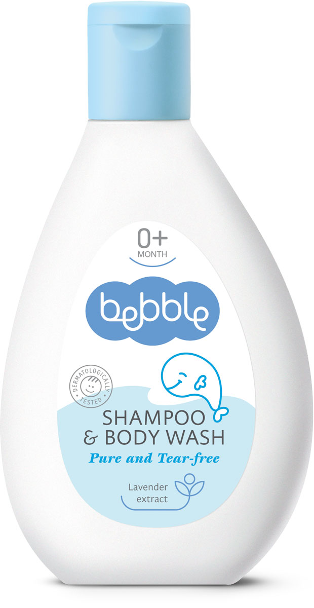 Bebble Шампунь для волос и тела Shampoo & Body Wash 200 мл301078День, проведенный с малышом — это день, наполненный любовью. Tеплая расслабляющая ванна с шампунем для волос и тела bebble представляет собой лучший способ окончания дня. Мягкая формула, специально разработанная для малышей, особенно нежна для глаз. Пушистая пенка шампуня деликатно очищает волосы и кожу, не иссушая их. Добавленный экстракт лаванды обладает успокаивающим и антисептическим действием. Благодаря этому шампуню время купания малыша превратится в твое любимое время дня. Природные и активных ингредиентов в этой Bebble продукта: Экстракт лаванды Экстракт лаванды обладает антисептическими, противомикробными и мягкообезболивающими свойствами. Стимулирует рост здоровых клеток, помогает снять отеки и балансирует содержание влаги на коже.
