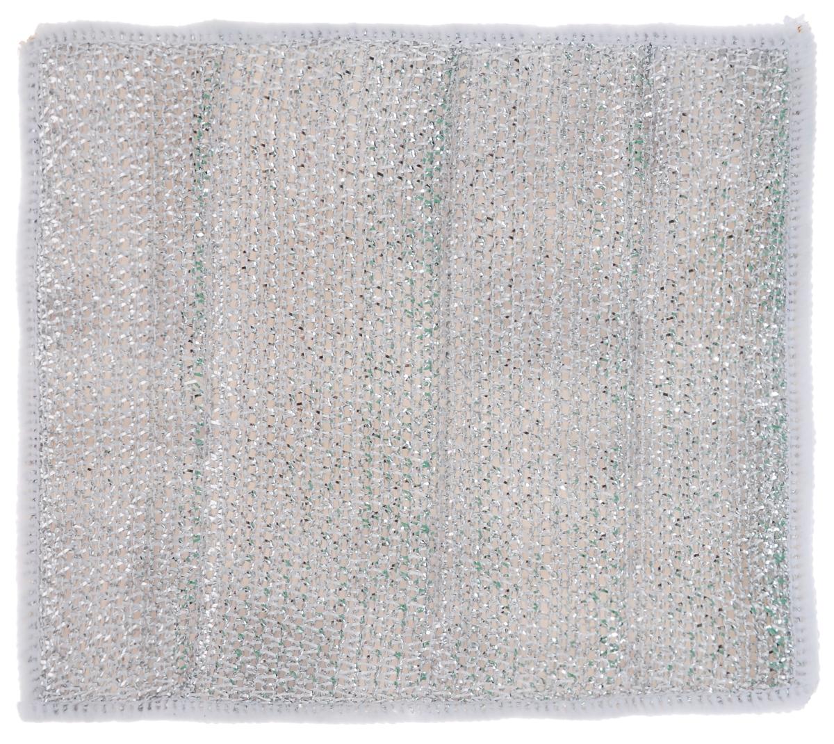 Салфетка для стеклокерамических плит Хозяюшка Мила, цвет: серебристый, белый, 21 х 17 см салфетка бытовая хозяюшка мила 04001 мила 04001
