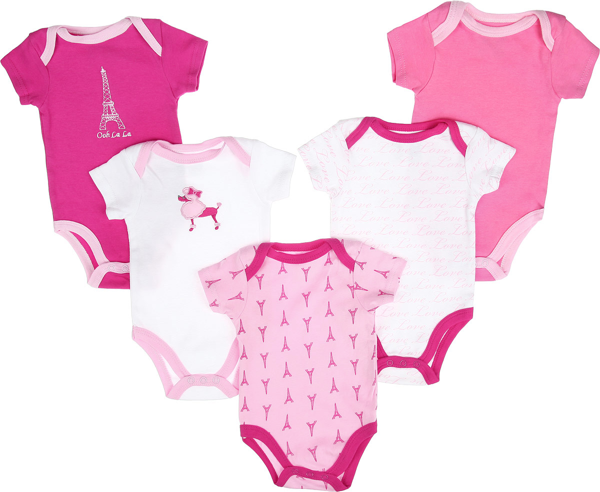 Боди-футболка для девочки Luvable Friends Париж, цвет: розовый, белый, 5 шт. 30785. Размер 67/72, 6-9 месяцев комплекты детской одежды luvable friends подарочный набор расти со мной 8 предметов 07072