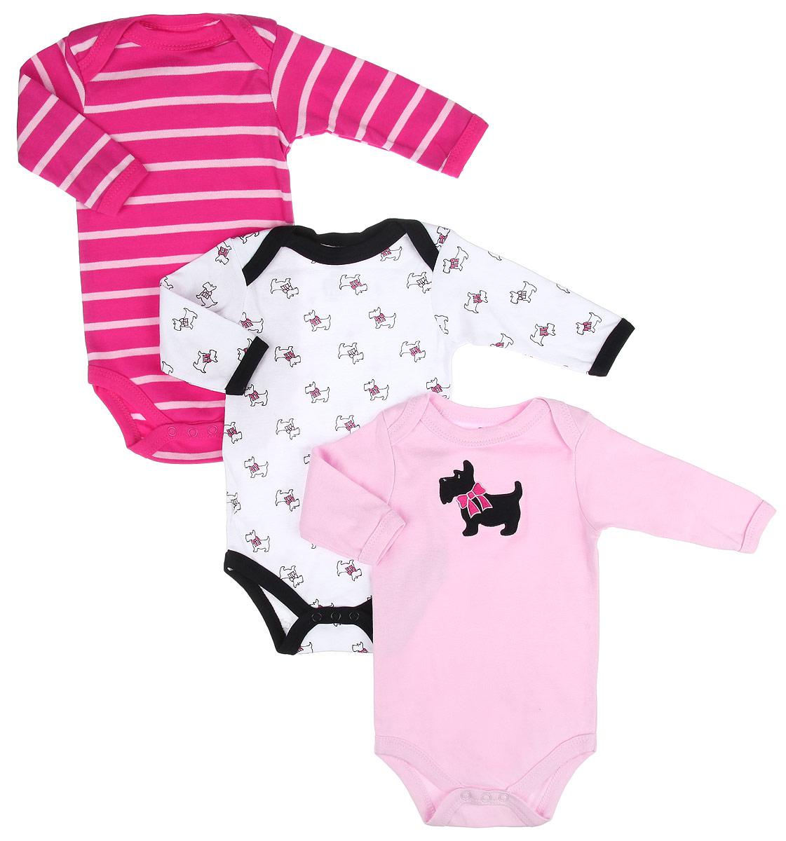 Боди для девочки Hudson Baby Собачка, цвет: розовый, белый, черный, 3 шт. 55133. Размер 61/67, 3-6 месяцев hudson baby hudson baby комплект одежды для малыша боди олени 3 шт синий серый