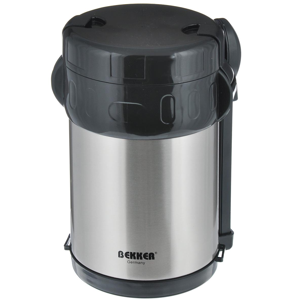 """Пищевой термос с широким горлом """"Bekker"""", изготовленный из высококачественной нержавеющей стали 18/8, прост в использовании и многофункционален. Изделие имеет двойные стенки, что позволяет пище долго оставаться горячей. Термос снабжен 3 пластиковыми контейнерами разного объема, а также металлической ложкой и вилкой в оригинальном чехле, который вставляется в специальную выемку сбоку термоса. Для удобной переноски предусмотрен специальный ремешок. Термос предназначен для хранения горячей и холодной пищи, замороженных продуктов, мороженного, фруктов и льда. Крышка плотно закрывается на две защелки. Высота (с учетом крышки): 22 см.Диаметр горлышка: 13 см.Диаметр контейнеров: 11,5 см.Высота контейнеров: 9 см; 5 см; 3,5 см. Объем контейнеров: 700 мл; 400 мл; 250 мл.Длина вилки/ложки: 15 см."""