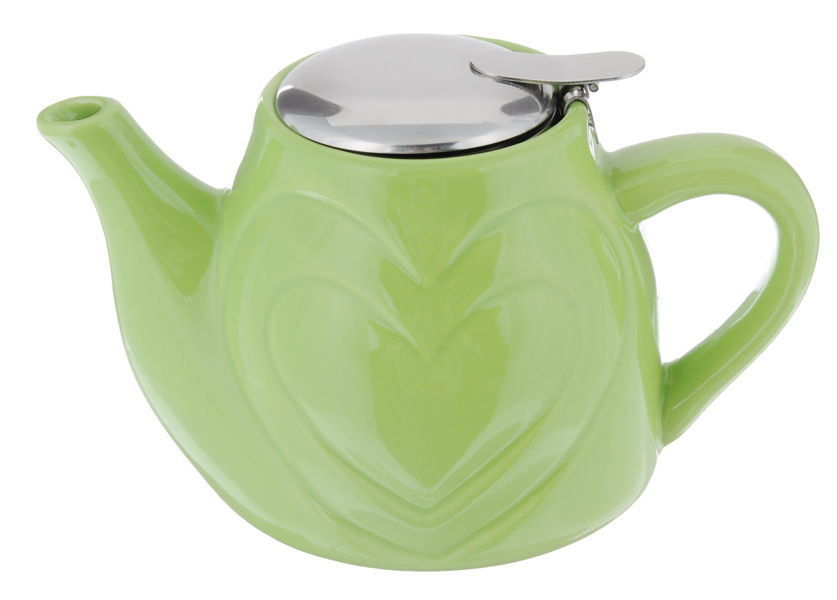 Чайник заварочный Loraine, с фильтром, цвет: зеленый, 500 мл23058_зеленыйЗаварочный чайник Loraine изготовлен из высококачественной керамики и нержавеющей стали. Изделие оснащено фильтром, благодаря которому задерживает чаинки и предотвращает попадание их в чашку.Глянцевый корпус обеспечивает легкую очистку. Чайник поможет заварить крепкий ароматный чай и великолепно украсит стол к чаепитию. Диаметр чайника (по верхнему краю): 7,5 см. Высота чайника (без учета крышки): 10,5 см.Высота фильтра: 6 см.