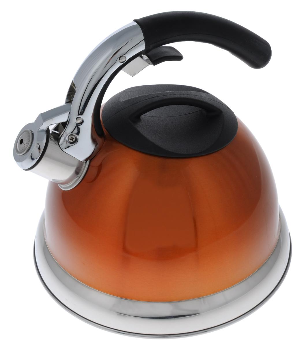 Чайник Mayer & Boch De Luxe со свистком, цвет: оранжевый, 3 л. 3113-23113-2Чайник Mayer & Boch De Luxe изготовлен изнержавеющей стали, что делает егогигиеничным и устойчивым к износу придлительном использовании. Эмалевая внешняяповерхность придает чайнику стильный внешнийвид. Гладкая и ровная поверхность существеннооблегчает уход за посудой. Чайник прикипячении сохраняет все полезные свойстваводы. Изделие снабжено свистком, который подскажет,когда закипела вода. Удобная эргономичнаяручка с прорезиненным покрытием обеспечиваетудобный захват. Свисток поднимается с помощьюспециального рычага на ручке чайника. Чайник подходит для всех типов плит, кромеиндукционных. Можно мыть в посудомоечноймашине. Диаметр отверстия (по верхнему краю): 10 см.Высота (без учета ручки): 13,5 см. Высота (с учетом ручки): 22 см. Диаметр основания: 22 см.