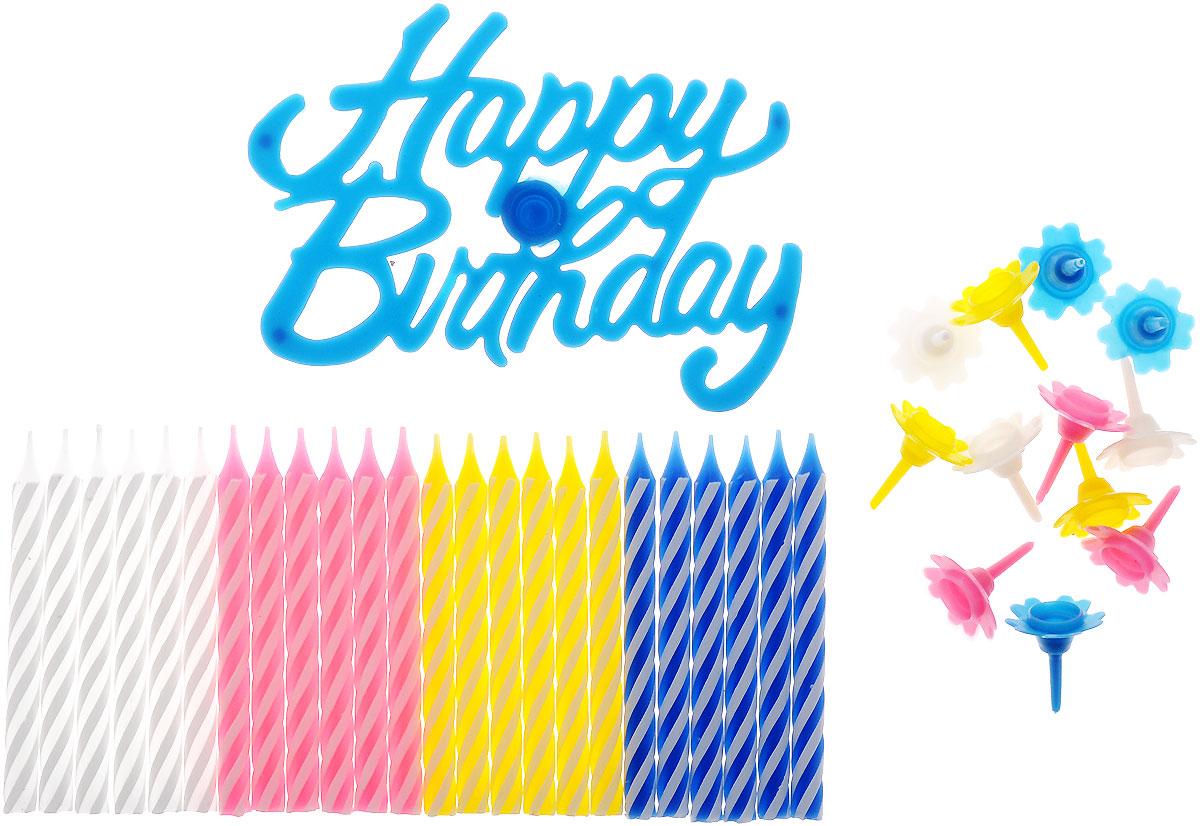 Action! Свечи для торта Happy Birthday 24 шт