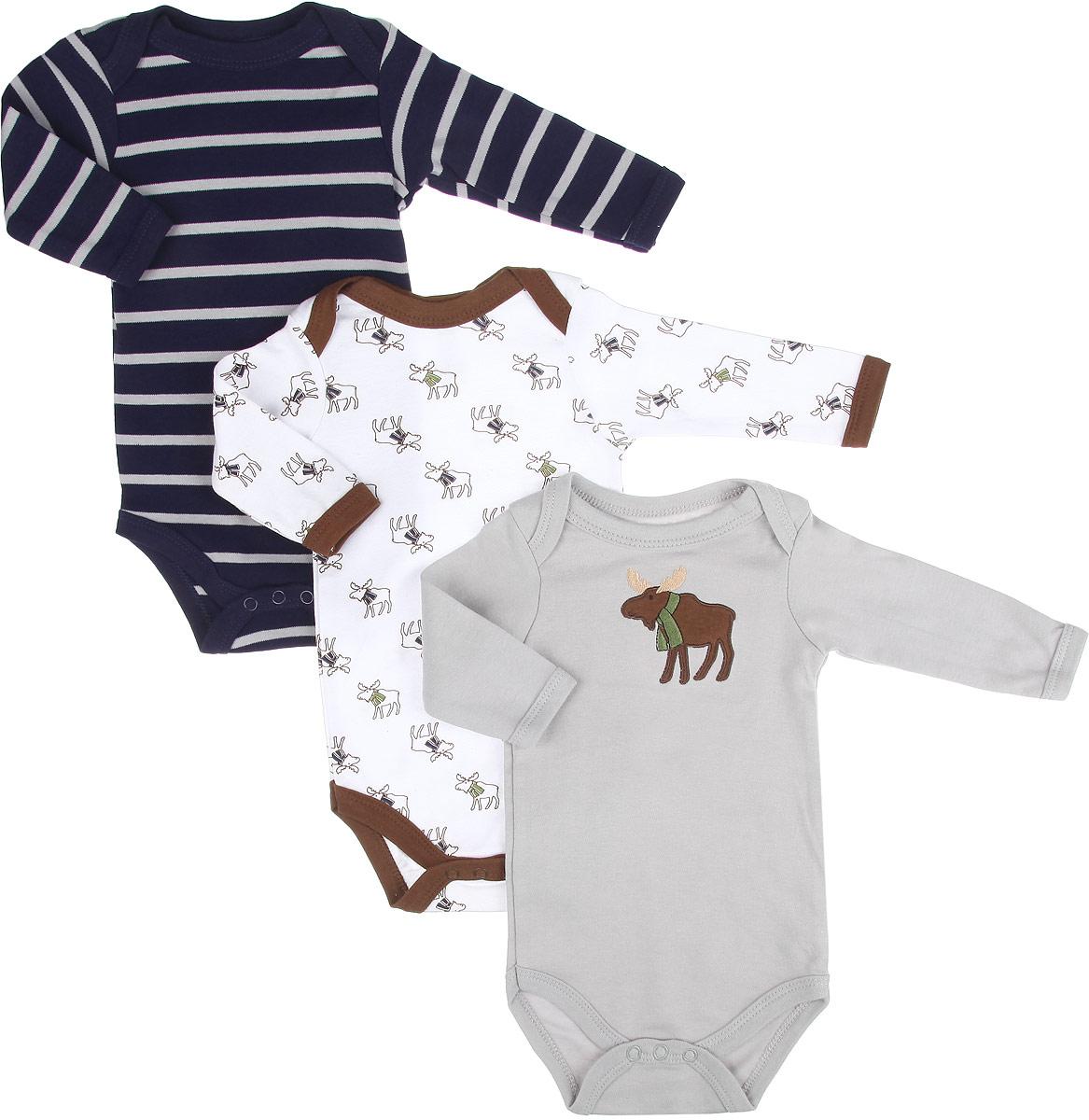Боди для мальчика Hudson Baby Лось, цвет: серый, белый, темно-синий, 3 шт. 55128. Размер 61/67, 3-6 месяцев hudson baby hudson baby комплект одежды для малыша боди олени 3 шт синий серый