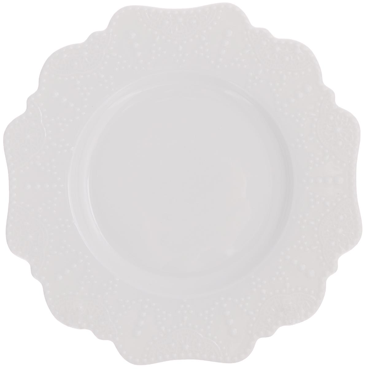 Тарелка десертная Walmer Vivien, цвет: белый, диаметр 21 см горшок для запекания walmer classic цвет белый диаметр 12 см