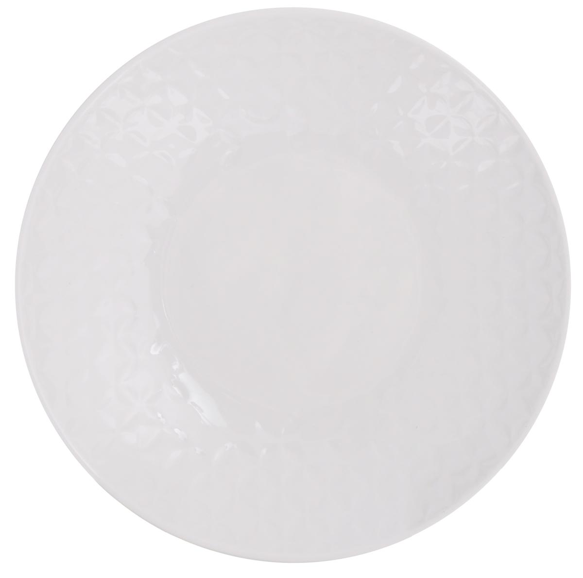 Тарелка суповая Walmer Quincy, цвет: белый, диаметр 21 см горшок для запекания walmer classic цвет белый диаметр 12 см