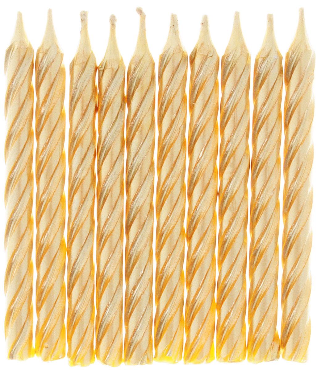 Action! Свечи для торта Золотые 10 шт праздничный атрибут 50 10
