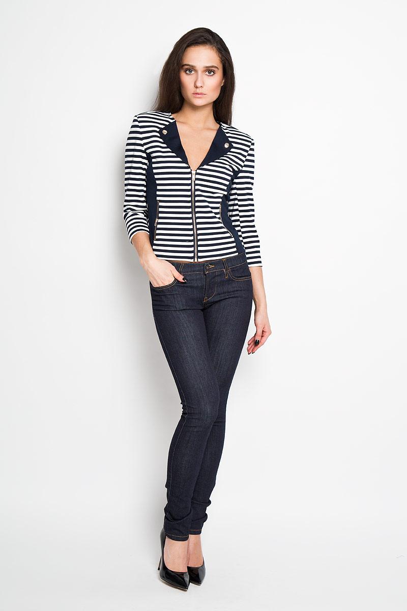 Жакет женский Sela, цвет: белый, темно-синий. JTk-116/448-6171. Размер S (44) жакет женский sela цвет белый темно синий jtk 116 448 6171 размер s 44