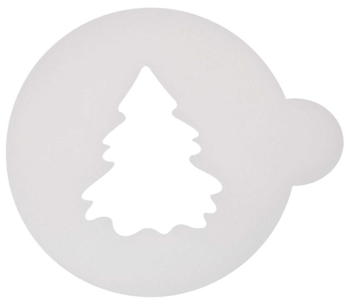 Трафарет на кофе и десерты Леденцовая фабрика Елочка, цвет: белый, диаметр 10 см трафарет на кофе и десерты леденцовая фабрика кошка с рыбой диаметр 10 см
