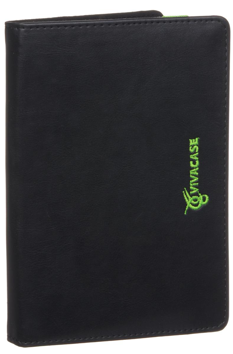 Vivacase Neon чехол-обложка для устройств 6, Black Green (VUC-CN006-bg)VUC-CN006-bgУниверсальный чехол-обложка Viva Neon для устройств с диагональю 6 изготовлен из искусственной кожи. Мягкая подкладка графитового цвета приятна на ощупь и предотвращает появление царапин на корпусе и дисплее. Резиновое крепление позволяет надежно зафиксировать электронное устройство внутри. Закрытым чехол удерживает широкая резинка неонового цвета, служащая ярким цветовым акцентом и выделяющая чехол на фоне других.