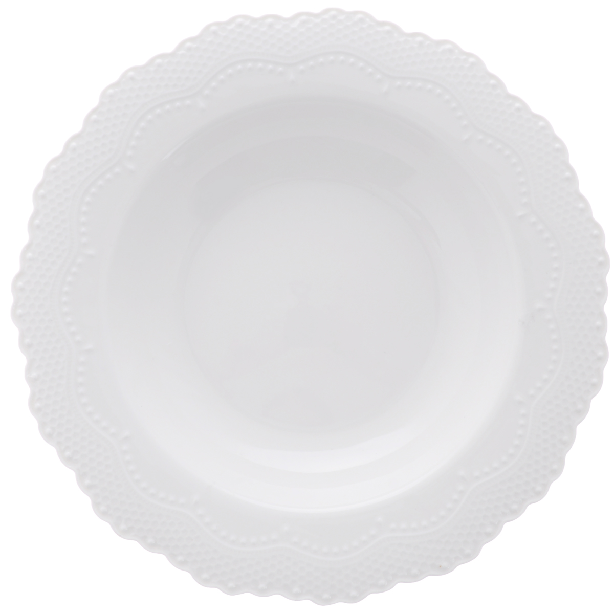 Тарелка суповая Walmer Vivien, цвет: белый, диаметр 22 смW07230022Суповая тарелка Walmer Vivien, изготовленная из высококачественного фарфора, имеет изысканный внешний вид. Яркий дизайн придется по вкусу и ценителям классики, и тем, кто предпочитает утонченность. Тарелка Walmer Vivien идеально подойдет для сервировки стола и станет отличным подарком к любому празднику.Можно мыть в посудомоечной машине. Диаметр (по верхнему краю): 22 см.
