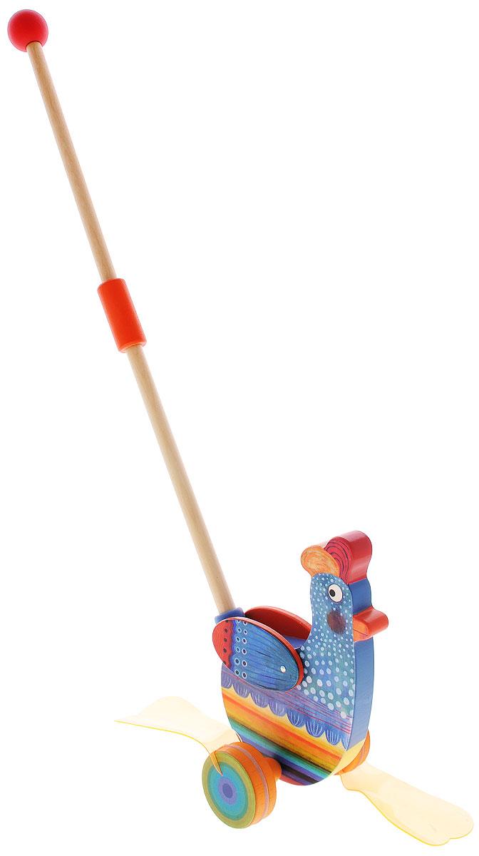 Djeco Игрушка-каталка Петух Фани развивающая игрушка djeco зверюшки попрыгунчики пастель 06105