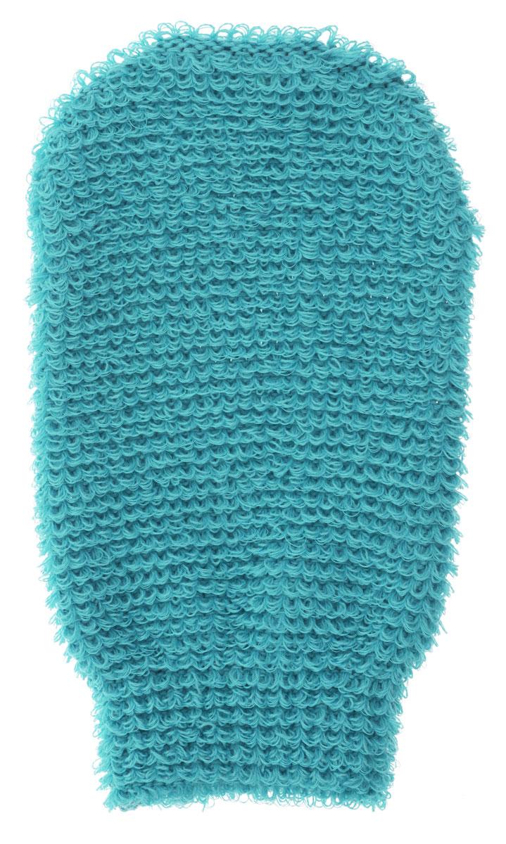 Мочалка-рукавица массажная Riffi, цвет : бирюзовый.102 riffi мочалка пояс массажная жесткая цвет синий