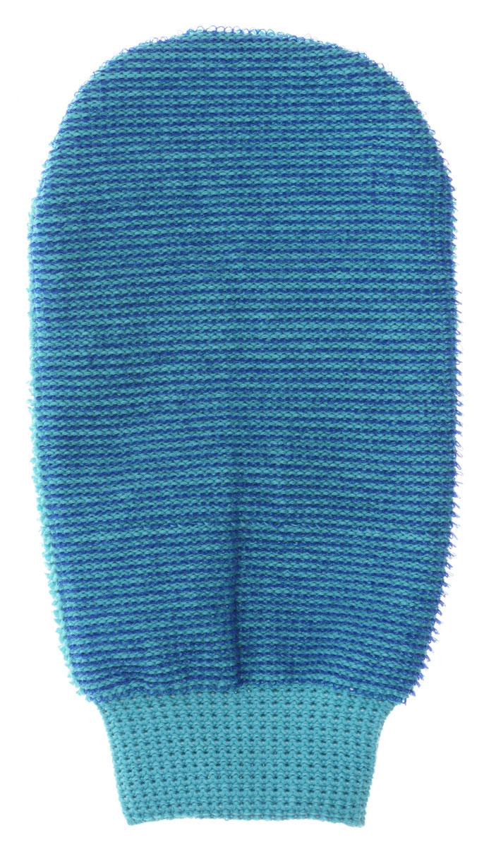 Riffi Мочалка-рукавица массажная, двухсторонняя, цвет: синий, бирюзовый.407 мочалка рукавица riffi жесткая цвет коралловый