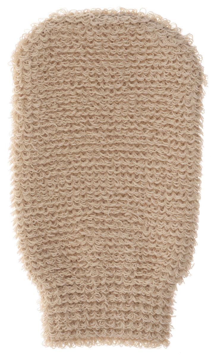 Мочалка-рукавица массажная Riffi, цвет : бежевый.102 мочалка рукавица riffi жесткая цвет коралловый