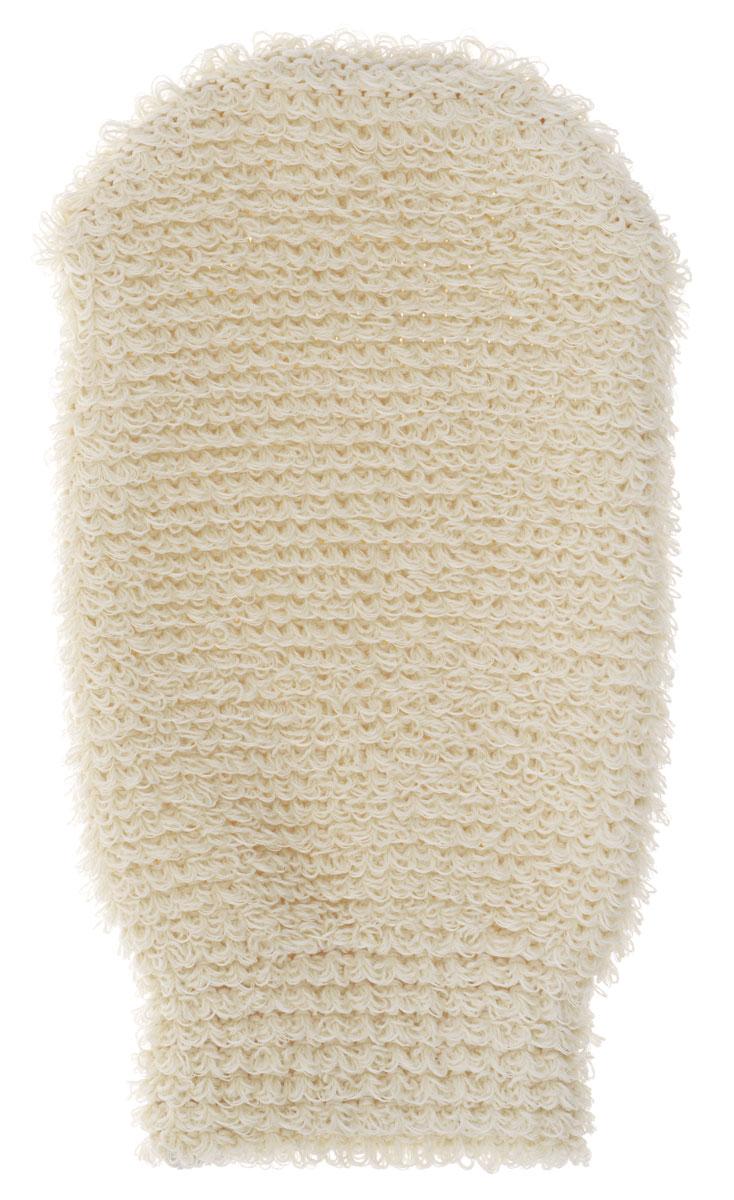 Мочалка-рукавица массажная Riffi, цвет : молочный.102 мочалка варежка массажная riffi вязаная 190