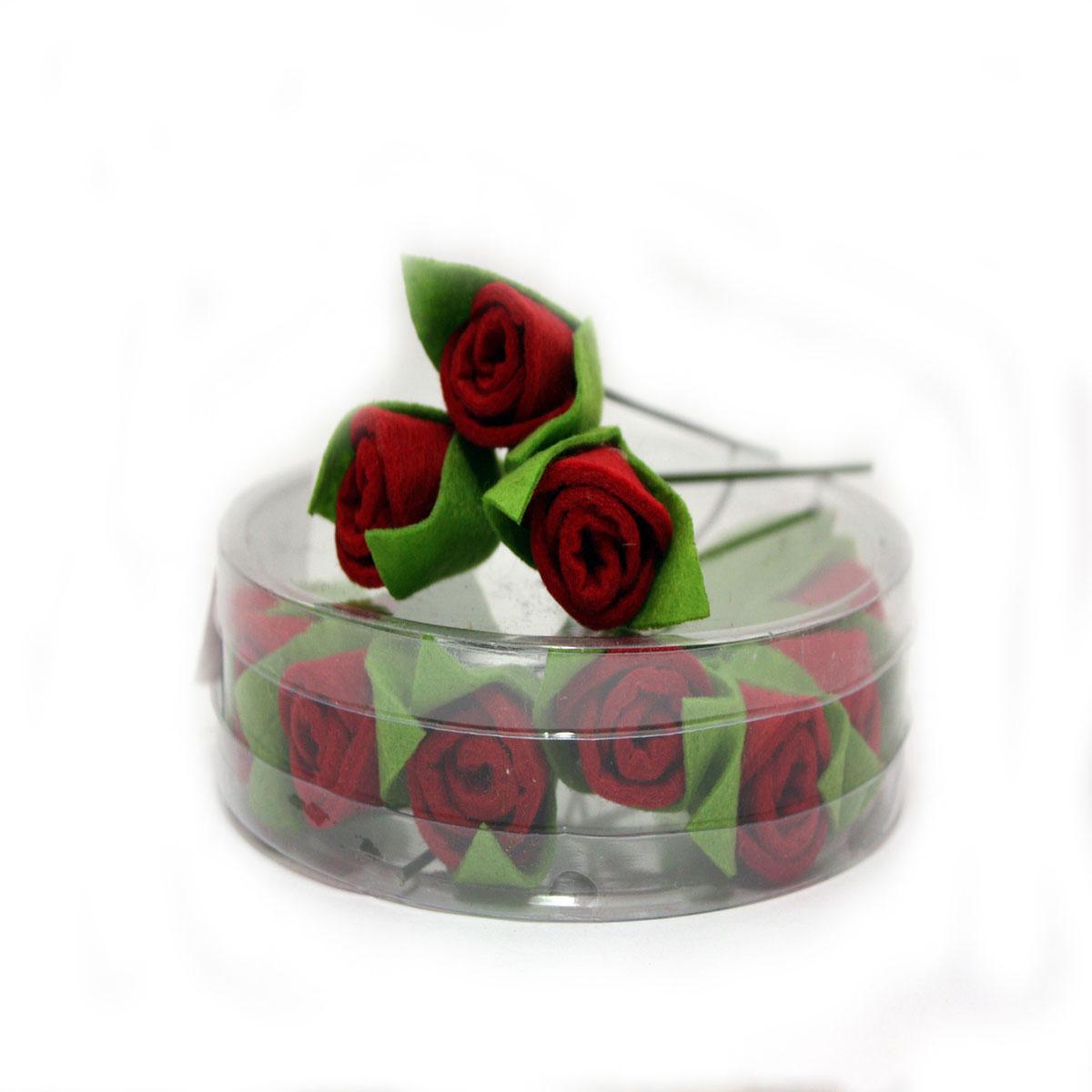 Набор декоративных украшений RTO Розочки, цвет: красный, зеленый, 12 шт