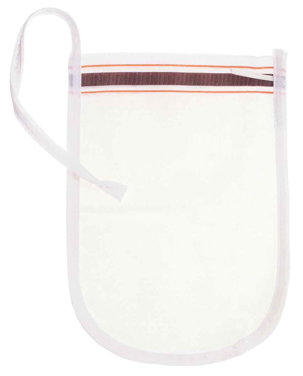 Рукавица для пилинга Riffi, щелковая, тонкая , цвет: белый, коричневый.910