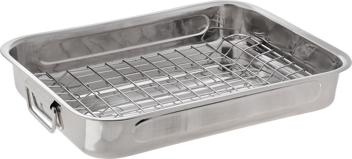 Противень SSW, с решеткой, 35 х 26 см471135Прямоугольный Противень SSW изготовлен из нержавеющей стали. Изделие оснащено съемной решеткой и ручками по бокам. В таком противне удобно готовить мясо, птицу, овощи, запекать различные блюда. Можно мыть в посудомоечной машине.С таким противнем вы всегда сможете порадовать своих близких здоровой и вкусной едой. Внутренний размер противня: 35 х 25 см. Размер противня: 35 х 26 х 6 см. Размер решетки: 31 х 22 х 1 см.