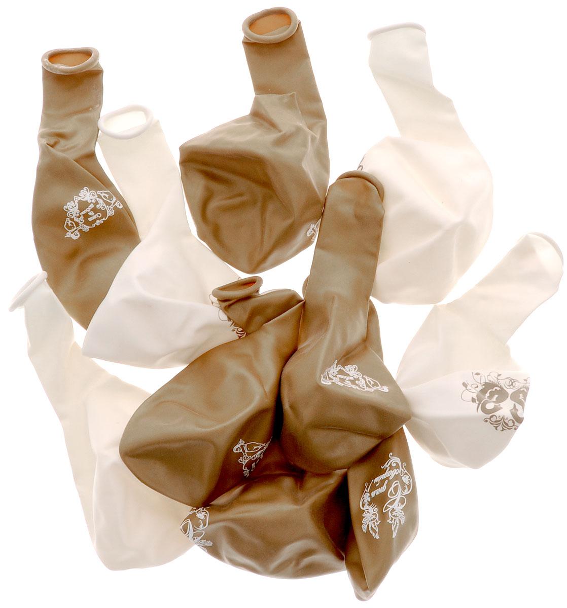 Action! Шары воздушные С Днем Свадьбы! цвет золотистый белый 30 см 10 шт -  Воздушные шарики