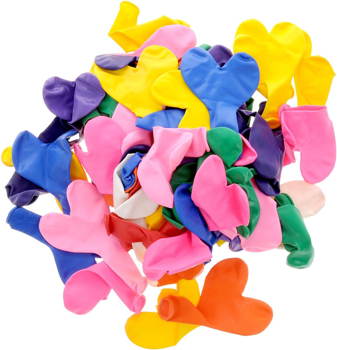 Action! Шары воздушные Сердечки разноцветные 100 шт - Воздушные шарики