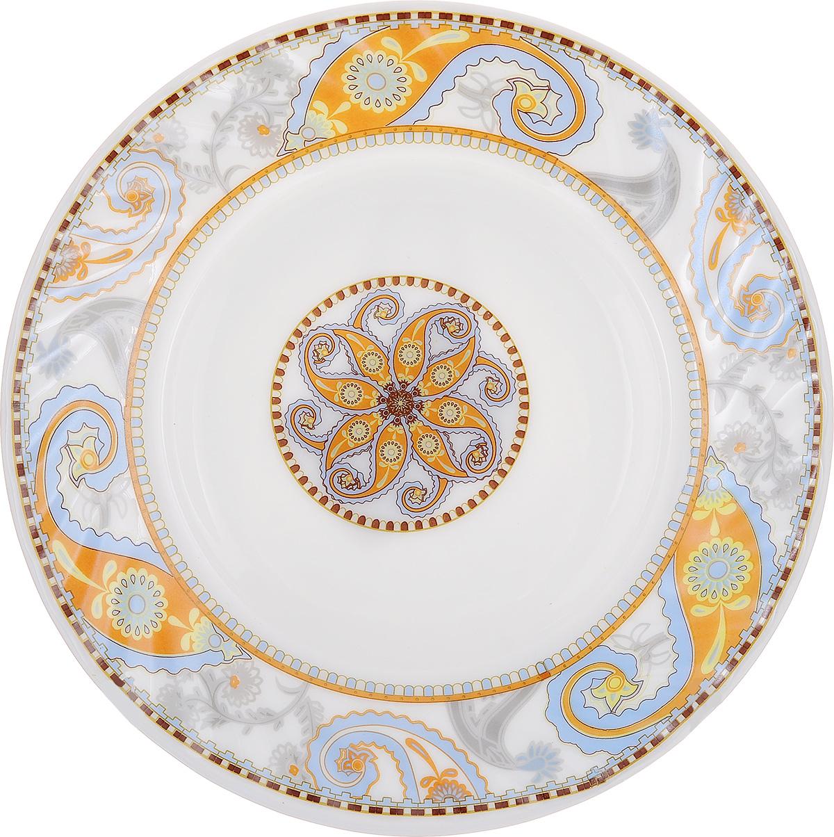 Тарелка обеденная МФК-профит Ориент, цвет: белый, песочный, 23 смHP-90/6721Обеденная тарелка МФК-профит Ориент, изготовленная из стеклокерамики,украшена ярким цветочным рисунком. Изящный дизайн придется по вкусу и ценителям классики,и тем, кто предпочитает утонченность. Тарелка МФК-профит Ориент идеально подойдет для сервировкистола и станет отличным подарком к любому празднику.Диаметр (по верхнему краю): 23 см.