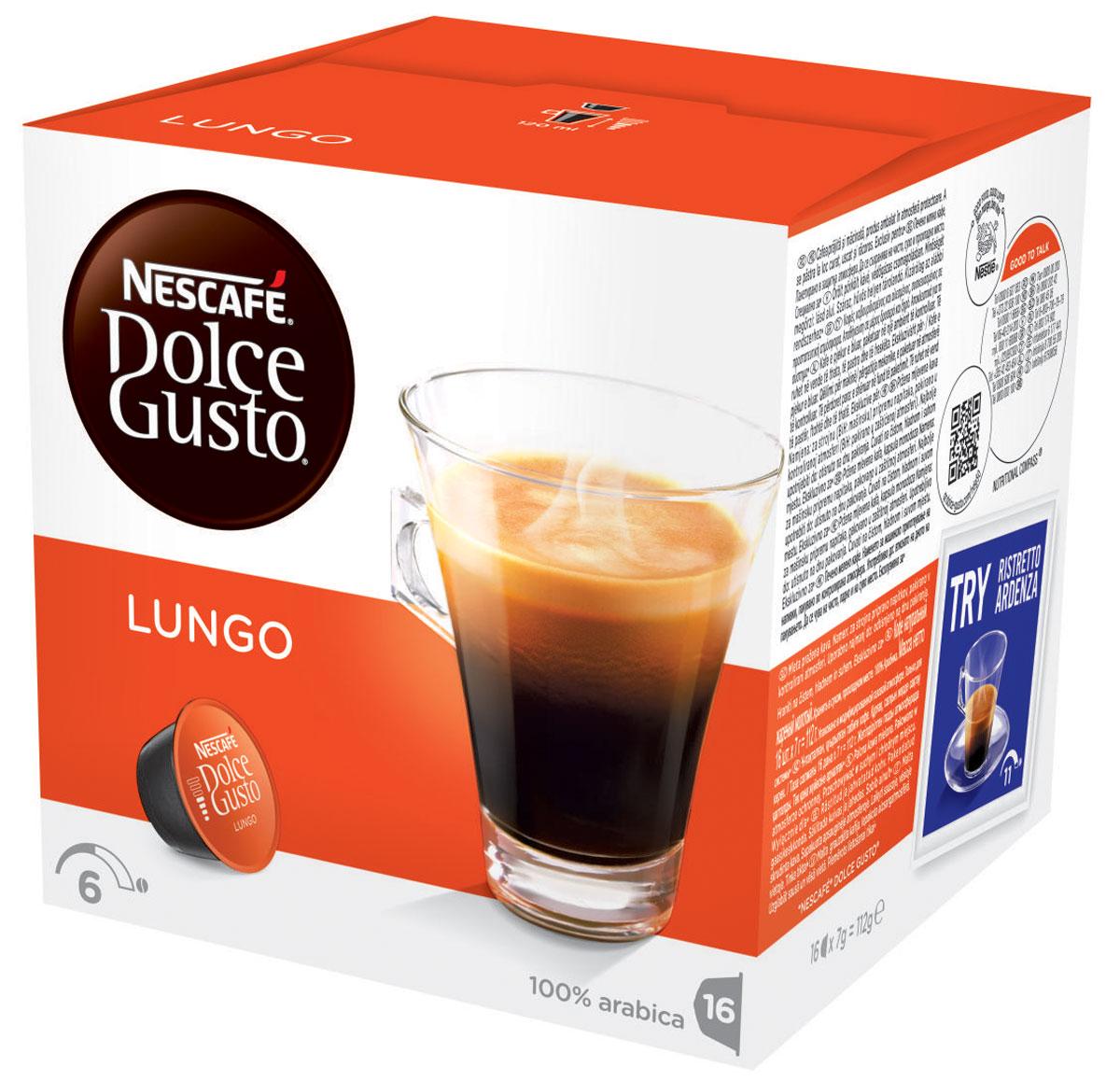 Nescafe Dolce Gusto Lungo кофе в капсулах, 16 шт5219842Кофейные капсулы Лунго созданы специально для ценителей итальянского длинного кофе. Лунго рождается точно так же, как и классический эспрессо. Вода проходит через тщательно обжаренный и перемолотый кофе, но вместо того, чтобы остановиться на маленькой порции, вода наполняет кофейную чашку обычного размера. Что получается? Удивительный расслабляющий кофе, который идеально подходит для любого времени дня! Изысканный аромат придется по вкусу всем любителям кофе.
